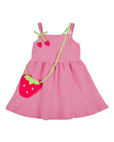 Sleeveless Gingham Seersucker Dress, Pink/White, Size 2-6