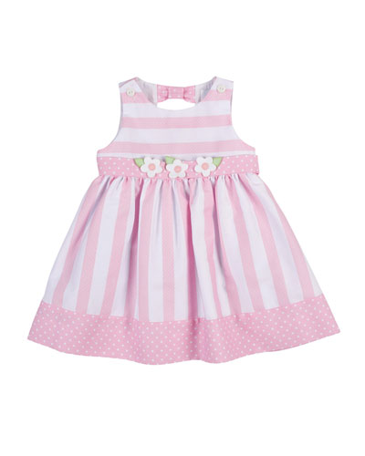 Sleeveless Striped Polka-Dot-Trim Dress, Pink, Size 2-4