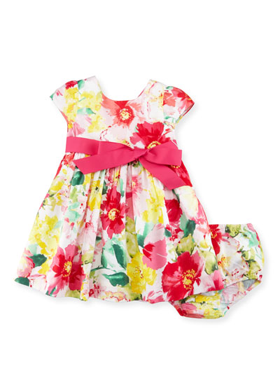 Cap-Sleeve Floral Poplin Dress w/ Bloomers, Pink, Size 9-24 Months
