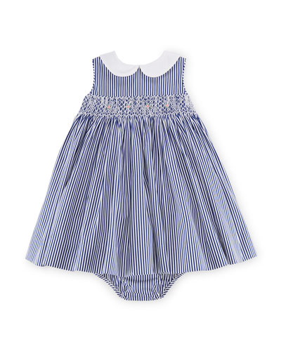 Sleeveless Bengal-Striped Poplin Dress w/ Bloomers, Blue, Size 9-24 Months
