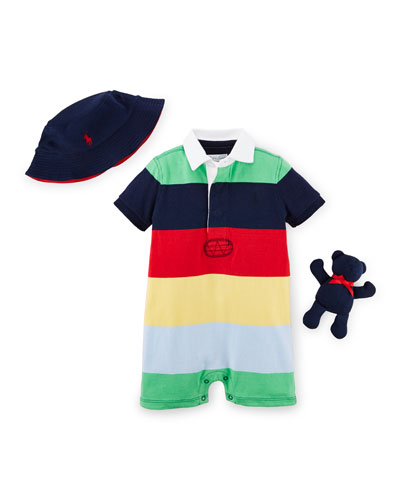 Striped Shortall, Hat & Bear Layette Set, Green/Multicolor, Size 9-24 Months
