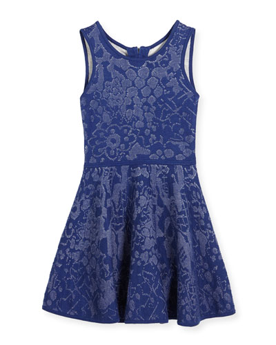 Floral Jacquard Fit-and-Flare Dress, Navy/White, Size 8-14