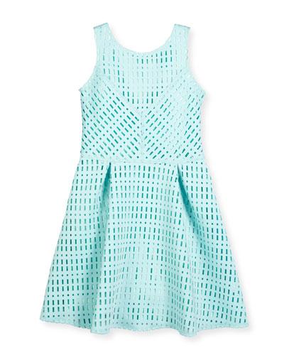 Sleeveless Laser-Cut Neoprene Dress, Turquoise, Size 8-16