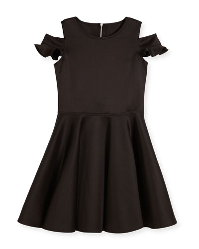 Cold-Shoulder Neoprene Fit-and-Flare Dress, Black, Size 8-16