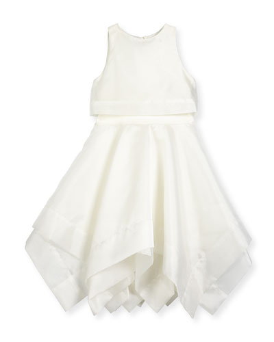 Sleeveless Organza Popover Dress, Ivory, Size 7-16