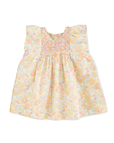 Sleeveless Embroidered Floral Poplin Blouse, Yellow, Size 6-12 Months