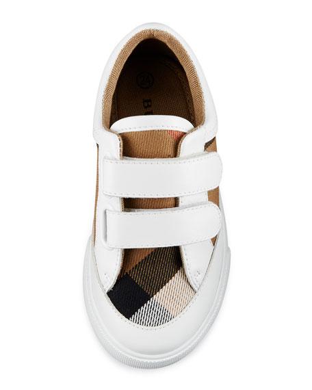 Heacham Check Canvas Sneaker, White/Tan, Toddler