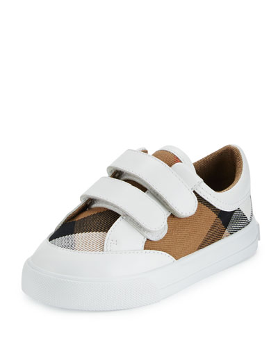 burberry outlet for kids 3eon  Heacham Check Canvas Sneaker, White/Tan, Toddler Quick Look Burberry