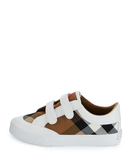 Heacham Check Canvas Sneaker, White/Tan, Youth
