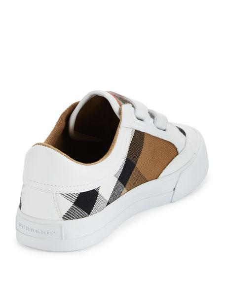 Heacham Check Canvas Sneaker, White/Tan, Youth