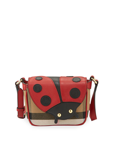 Girls' Check Leather-Trim Ladybug Crossbody Bag, Parade Red/Tan