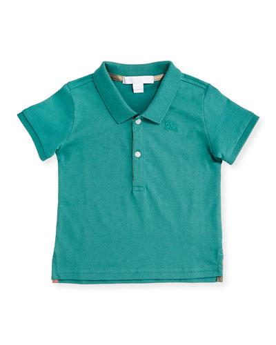 Palmer Pique Polo Shirt, Storm Green, Size 6M-3