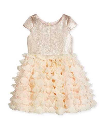 Cap-Sleeve Metallic & Chiffon Party Dress, Blush, Size 2-6