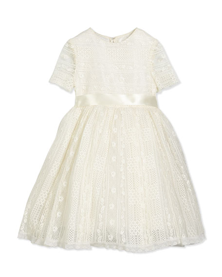 Oscar de la Renta Dawn Short-Sleeve Lace Dress,