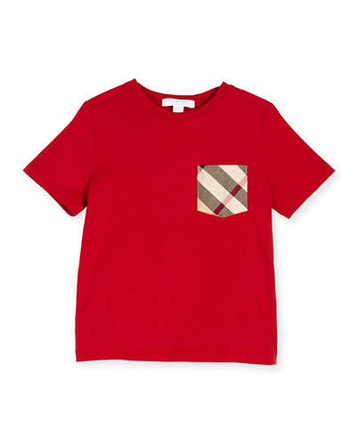Callum Check-Pocket Jersey Tee, Military Red, Size 4-14