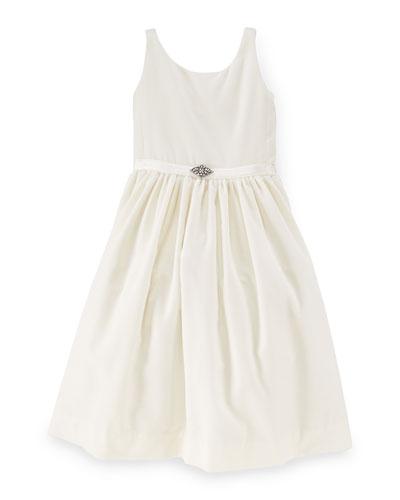 Sleeveless Velvet A-Line Dress, Warm White, Size 2-6X