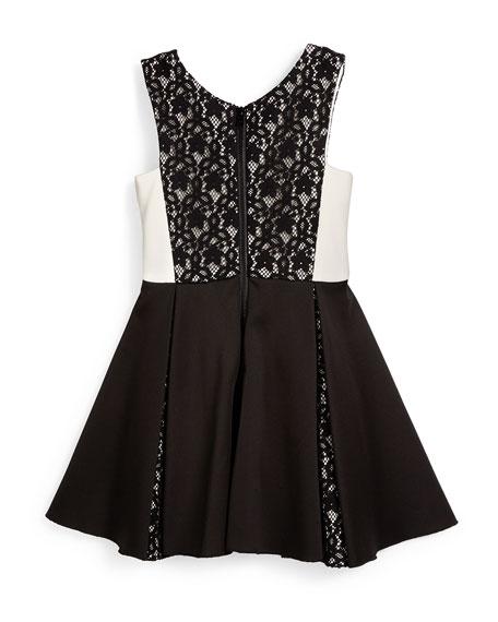 Sleeveless Lace-Trim Ponte Dress, Black/White, Size 7-14