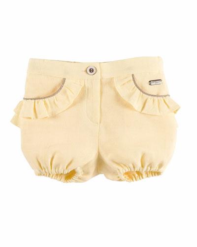 Linen Ruffle-Trim Bloomers, Yellow, Size 12M-3