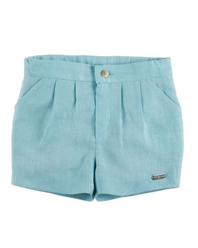 Pleated Linen Shorts, Teal, Size 6M-3