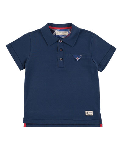 Short-Sleeve Jersey Polo Shirt, Blue, Size 2-10