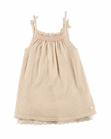 Pili Carrera Sleeveless Embroidered Metallic Shift Dress, Cream,