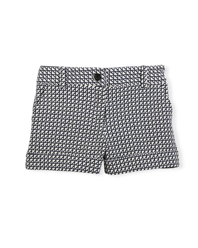 Printed Cotton-Blend Shorts, Navy/White, Size 4-12
