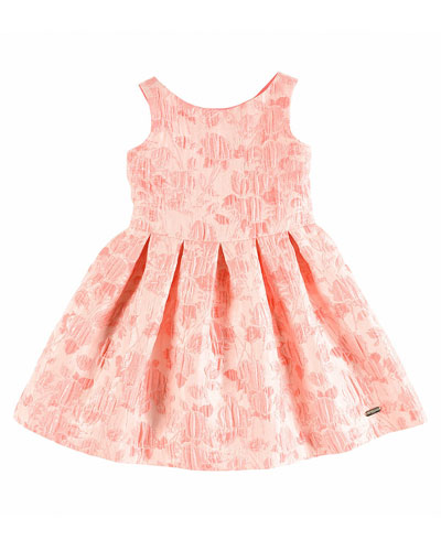 Sleeveless Pleated Floral Jacquard Dress, Pink, Size 4-10