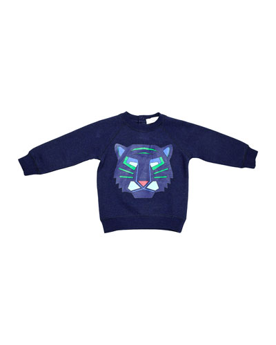 Billy Fleece Tiger Sweatshirt, Midnight Melange, Size 9-24 Months