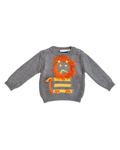 Ira Crewneck Lion Sweater, Pale Gray, Size 18-24 Months