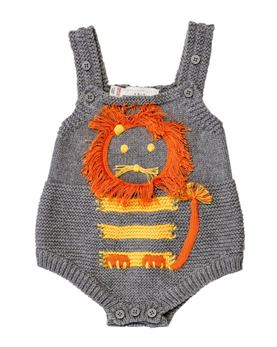 Sleeveless Mixed-Knit Lion Playsuit, Pale Gray, Size 3-12 Month