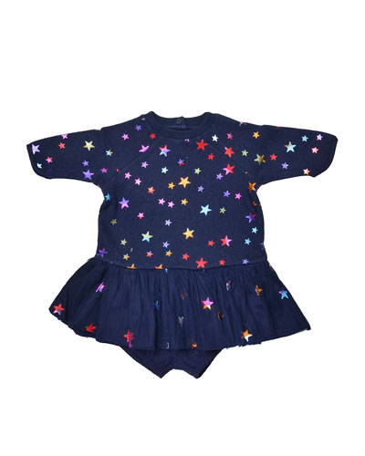 Raglan Star-Print Play Dress, Midnight Melange, Size 9-24 Months