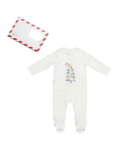 Muffin Embroidered Holiday Footie Pajamas, White, Size 3 Months
