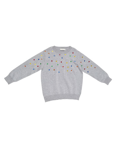 Jade Embellished Metallic Sweatshirt, Gray, Size 8-14