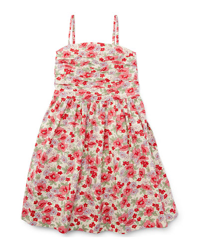 Sleeveless Floral Button-Back Sundress, Pink, Size 2T-4T