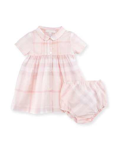 Gabriela Short-Sleeve Smocked Check Dress w/ Bloomers, Ice Pink, Size 3-24 Months