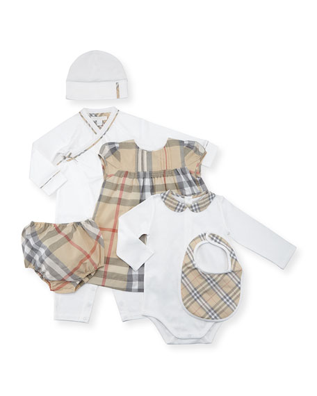 Girls' Maxime Check Layette Set, White, Size 3-18 Months
