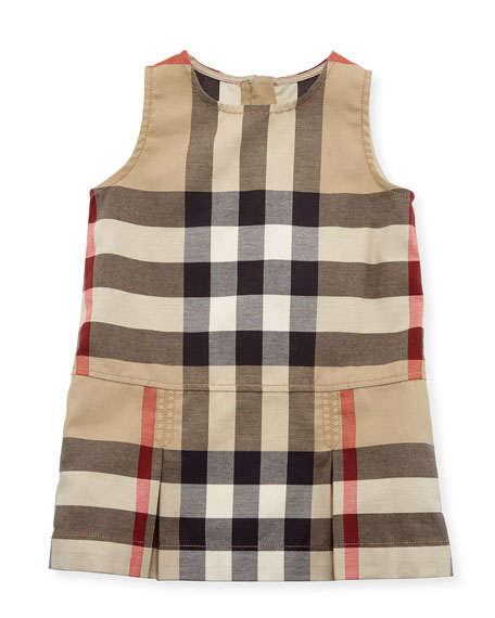 Dawny Sleeveless Pleated Check Dress, New Classic, Size 6M-3