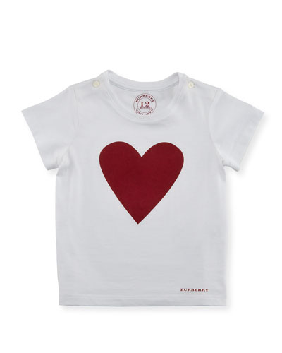 Love Heart Jersey Tee, White/Red, Size 6M-3