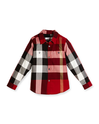 Camber Poplin Check Shirt, Parade Red, Size 4-14