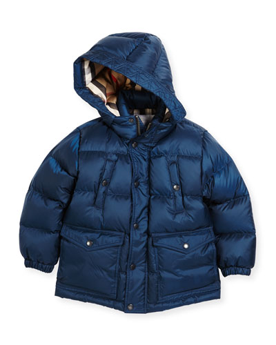 Barnie Check-Lined Puffer Jacket, Blue, Size 4-14