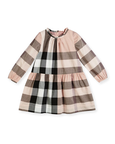 Philippa Long-Sleeve Smocked Check Dress, Pink, Size 4-14