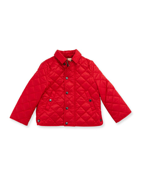 Burberry Luke Quilted Snap-Front Jacket, Bright Cherry Red,