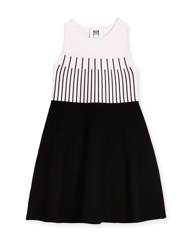 Sleeveless Colorblock Fit-and-Flare Dress, Petal/Black, Size 8-14