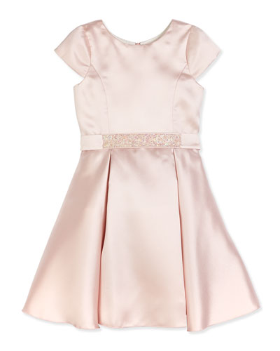 Sweet Treat Cap-Sleeve Fit-and-Flare Dress, Blush, Size 2-6X