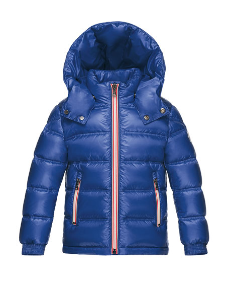 Gaston Web-Trim Quilted Down Coat, Bright Blue, Size