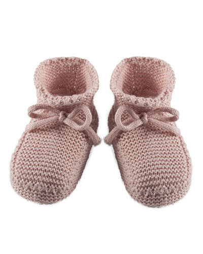 Sweater-Knit Baby Booties, Gray