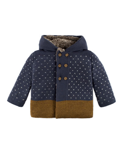 Hooded Double-Breasted Sweater Coat, Blue, Size 12M-4