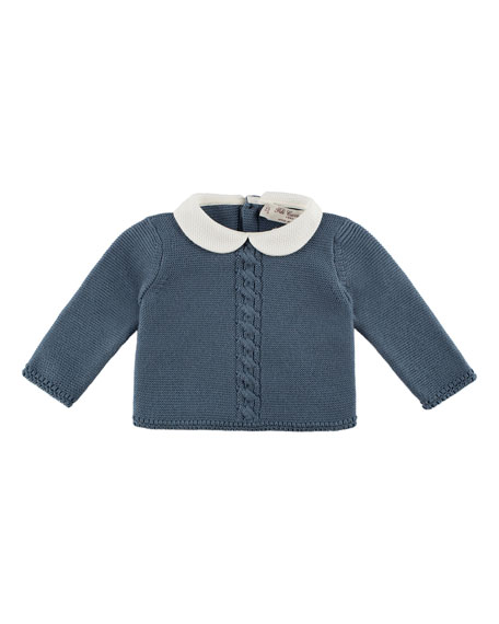 Collared Crochet Cardigan, Blue, Size 3-12 Months
