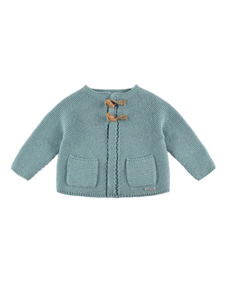 Crochet Toggle Cardigan, Aqua Blue, Size 3M-2