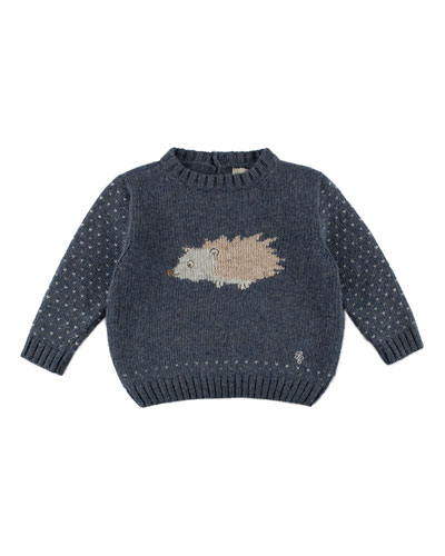 Long-Sleeve Porcupine-Intarsia Pullover Sweater, Blue, Size 12M-4